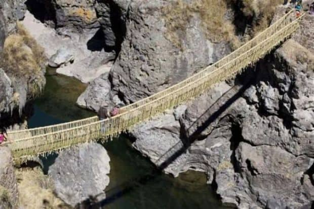 "Cele mai ""extreme"" poduri din lume Inca rope bridge"