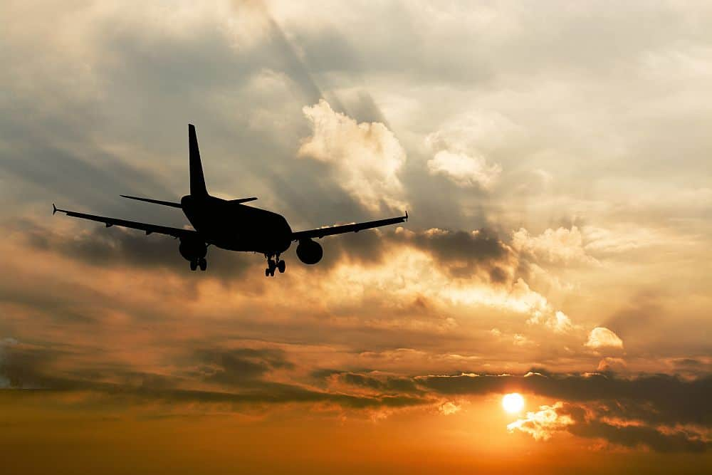 25750415 Beautiful view of silhouette of airplane