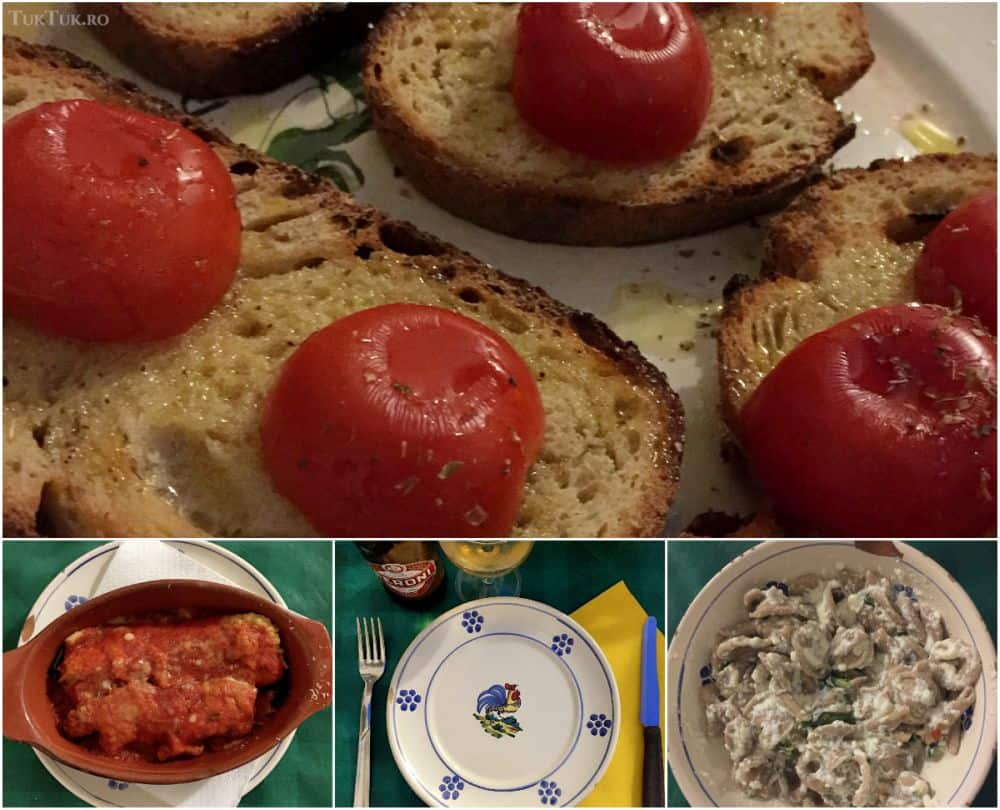 Mâncare bună în Ostuni, cu bruschette, parmigiana di zucchine și orecchiette.