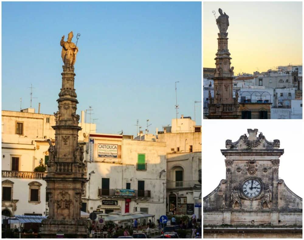 Columna Sant'Oronzo șii ceasul de pe fațada Primăriei