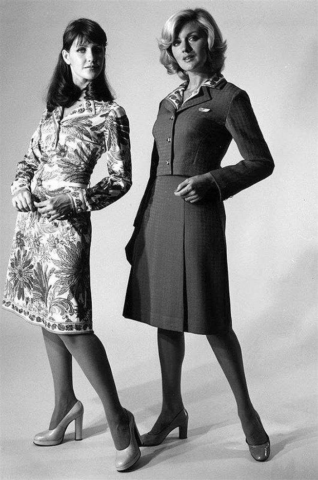 Costumele stewardeselor de pe Qantas Airways (1974-1985), create de Emilio Pucci