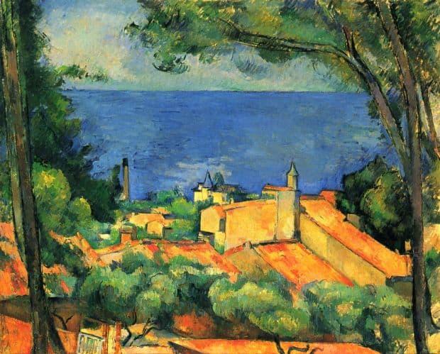 Cezanne a avut multe tablouri in care a oglindit viata din Provence. Aici, Golful Marsiliei văzut de la Estaque.
